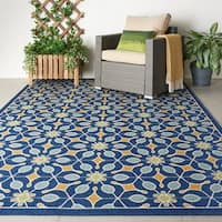 Nourison Caribbean Indoor/Outdoor Navy Rug (3'11 x 5'11)