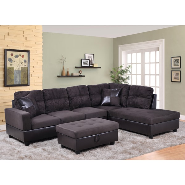Delima 3 Pc Black Microsuede And Faux Leather Sectional
