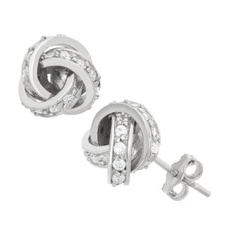 Gioelli Sterling Silver Cubic Zirconia Love Knot Stud Earrings