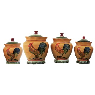 Rooster Hand-painted Food Storage Canister 4-piece Set
