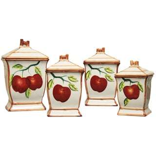 Apple Hand-painted Food Storage Canister 4-piece Set