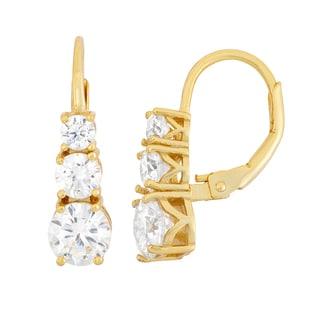 Gioelli 14k Goldplated Silver Journey-style Leverback Dangle Earrings