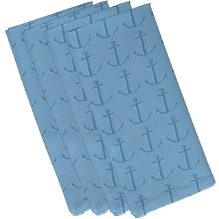 Two-tone Anchor Coastal Print 19-inch Table Top Napkin
