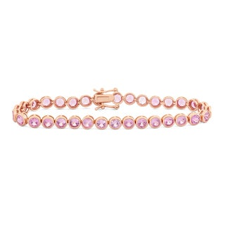 Gioelli Rose Goldplated Round 4mm Created Pink Sapphire Bracelet