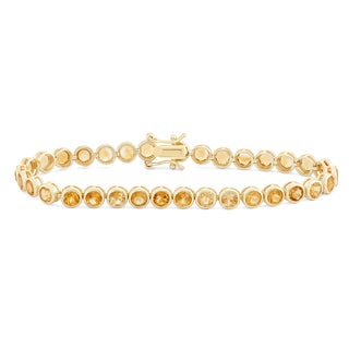 Gioelli Goldplated Round 4mm Citrine Bracelet