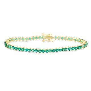 Gioelli Goldplated Round 3mm Created Emerald Bracelet