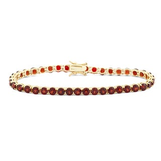 Gioelli Gold plated Silver 4mm Prong Garnet Bracelet