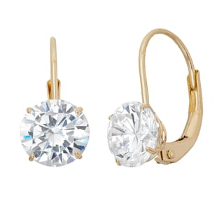 Gioelli 14k Yellow Gold Cubic Zirconia 6 mm Leverback Earrings