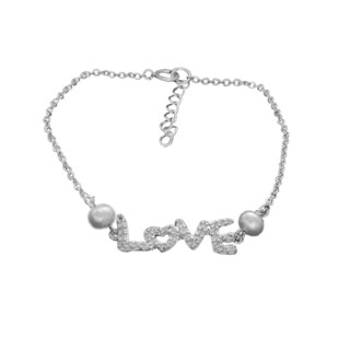 Rhodium Plated Sterling Silver Love CZ and Faux Pearl Bracelet