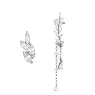 Sterling Essentials Rhodium Plated Silver Single Ear Cuff with Stud Cubic Zirconia Earrings