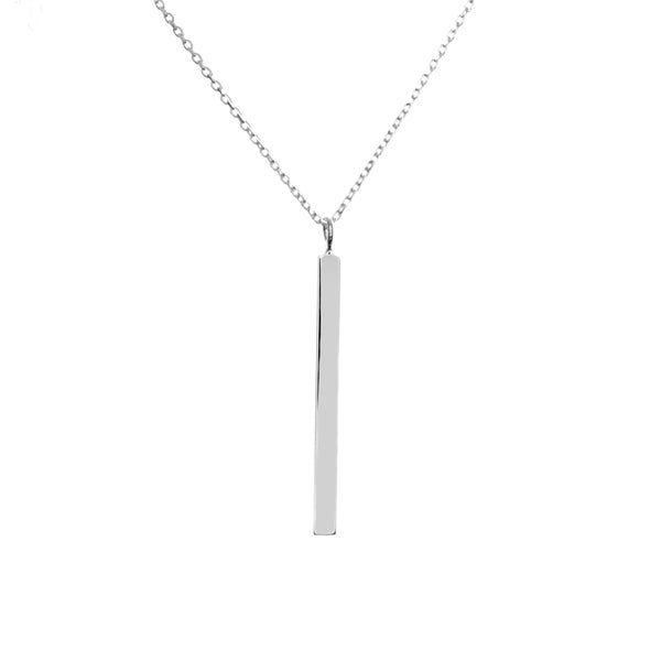 Shop Italian Sterling Silver Bar Necklace (18 Inch) - Free Shipping ... 430a01d50
