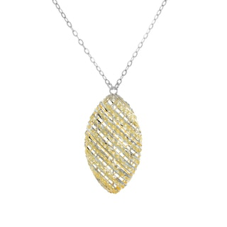 Sterling Essentials 18-inch Two-tone Silver Diamond-cut Marquise Necklace