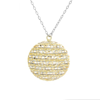 Sterling Essentials 18-inch Two-tone Silver Diamond-cut Moon Necklace