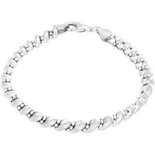 Sterling Essentials Silver Diamond-cut Bead San Marco Bracelet