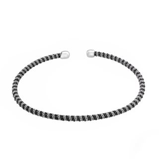 Sterling Essentials Silver Diamond-cut Bead Cuff Bracelet