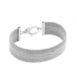 Sterling Essentials Silver Diamond-cut Cuff Bracelet