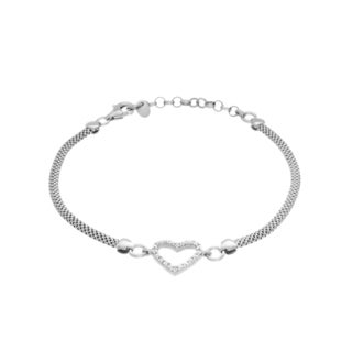 Sterling Essentials Silver Cubic Zirconia Heart Station Bracelet