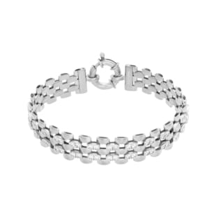 Sterling Essentials Silver Cubic Zirconia Panther Link Bracelet