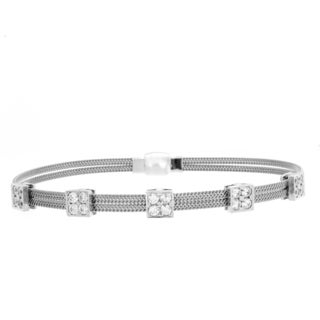 Sterling Essentials Silver Cubic Zirconia Squares Magnet Cuff