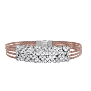Sterling Essentials Silver Cubic Zirconia Hearts Magnet Cuff