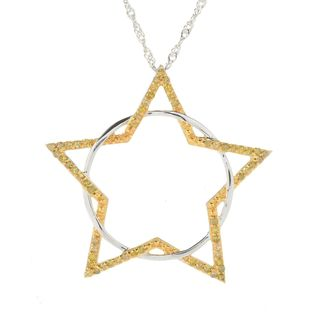 Sterling Silver 0.50ct TDW Yellow Diamond Star & Circle Pendant Necklace