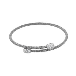 Sterling Silver Cubic Zirconia Bypass Cuff