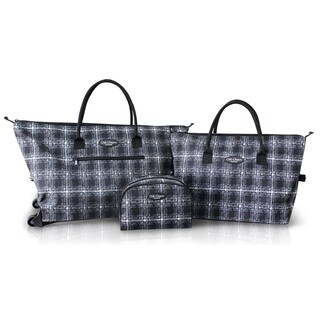 Jacki Design Black 3-piece Rolling Tote Bag and Cosmetic Bag Set