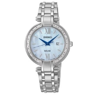 Seiko Women's SUT181 Stainless Steel and 20 Diamonds Solar Watch