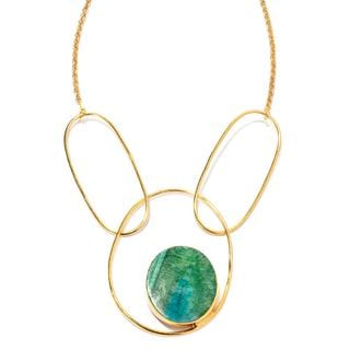 Gold Tone 40 x 35 mm Oval Druzy Agate Y Necklace