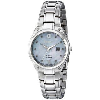 Seiko Women's SUT213 Stainless Steel and Diamond Solar Powered Watch|https://ak1.ostkcdn.com/images/products/10207914/P17330625.jpg?impolicy=medium