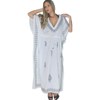 La Leela Designer RAYON Embroidered PLUS Size V Neck Long Caftan Beach Dress