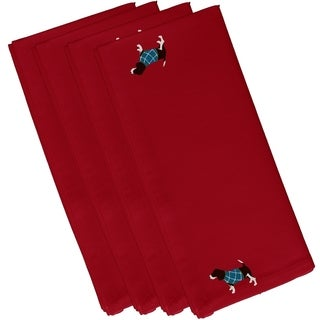 Hound Dog Holiday Print Red 19-inch Table Top Napkin