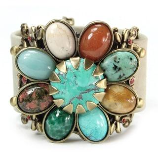 Sweet Romance Southwest Agate Turquoise Jasper Flower Leather Cuff Bracelet