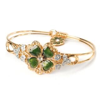 Sweet Romance Lucky Clover Enamel Golden Bangle Bracelet