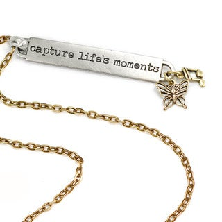 Sweet Romance Motivational Quote 'capture life's moments' Inspiration Necklace