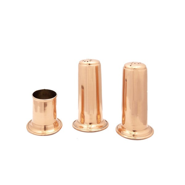 Solid Copper Salt and Pepper Set with Toothpick Holder 3-piece Set