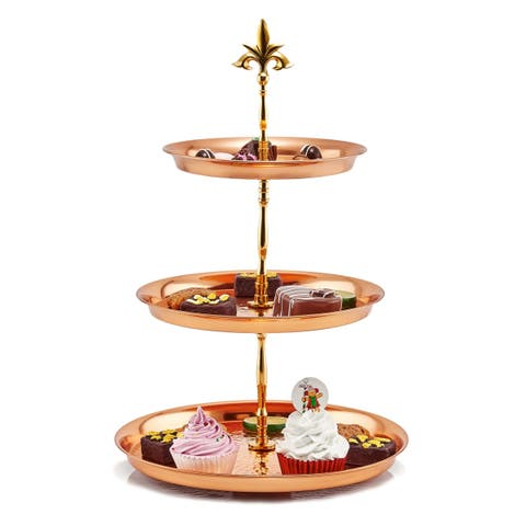 Three Tier Hammered Solid Copper Serving Stand with Brass Stem