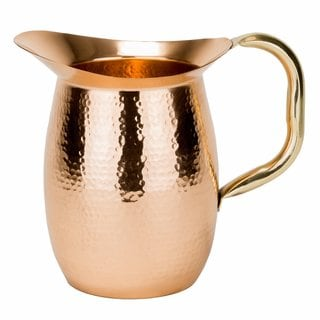 Hammered Solid Copper 2 Quart Water Pitcher with Brass Handle