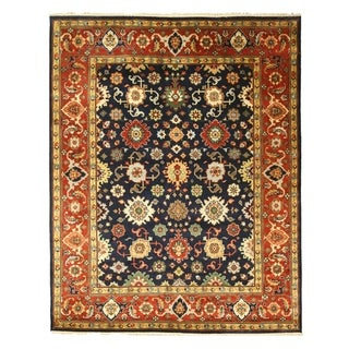 Hand-knotted Wool Navy Traditional Oriental Super Mahal Rug (9' x 12')