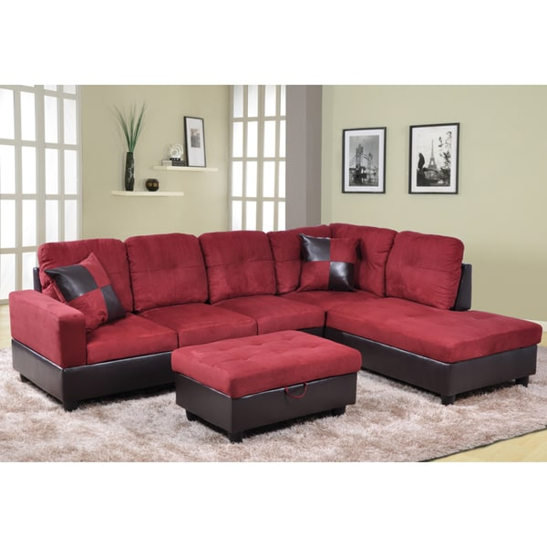 Delima 3-piece Burgundy Microsuede and Faux Leather Sectional set with Storage  Ottoman and 2 - Delima 3-piece Burgundy Microsuede And Faux Leather Sectional Set