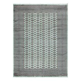 Herat Oriental Pakistani Hand-knotted Bokhara Light Green/ Black Wool Rug (8'11 x 12'1)