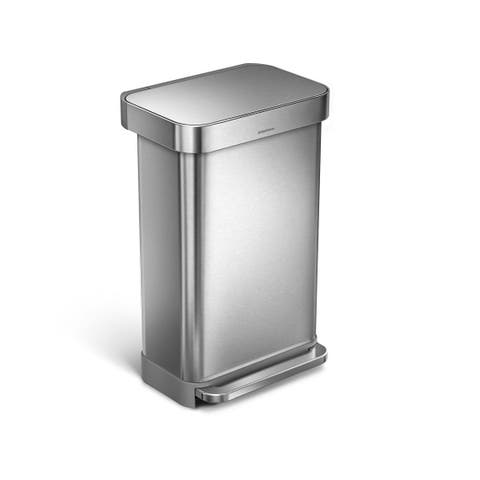 Simplehuman Stainless Steel 45-liter Rectangular Step Can with Liner Pocket