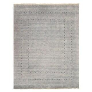 Handmade Wool Gray Traditional Solid Lori Baft Rug (9' x 12')