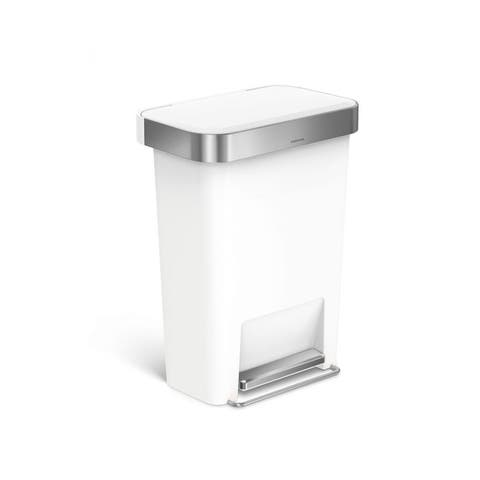 Simplehuman 45-liter White Plastic Rectangular Step Can with Liner Pocket