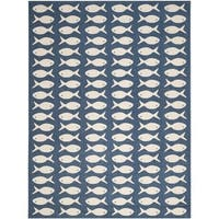 Safavieh Courtyard Goldfish Navy/ Beige Indoor/ Outdoor Rug - 4' x 5'7