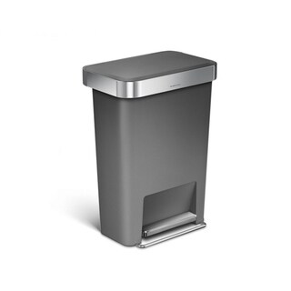 Simplehuman 45-liter Grey Plastic Rectangular Step Can with Liner Pocket