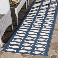 Safavieh Courtyard Goldfish Navy/ Beige Indoor/ Outdoor Rug - 5'3 x 7'7