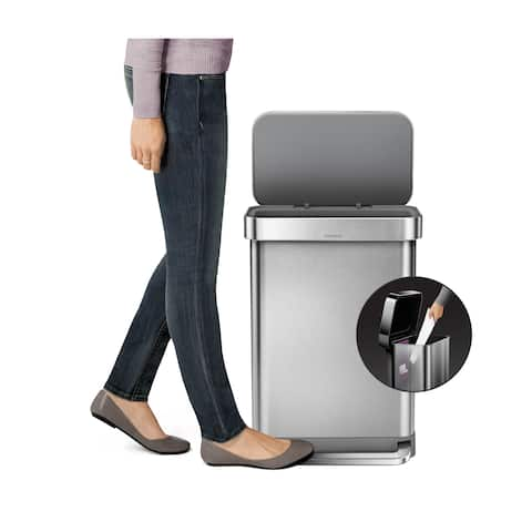 Simplehuman 55-liter Stainless Steel Rectangular Step Can with Liner Pocket - Silver