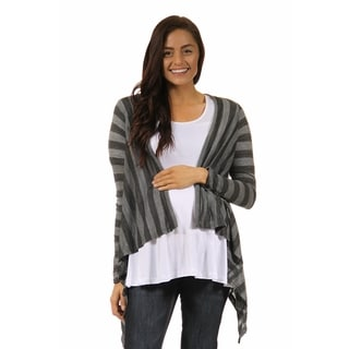 24/7 Comfort Apparel Women's Maternity Casual Charcoal Printed Shrug