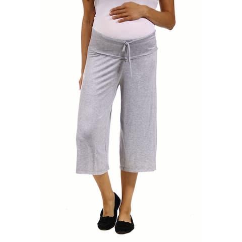 24/7 Comfort Apparel Women's Maternity Draw String Knee-Length Pant